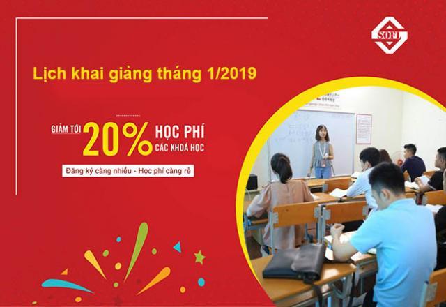 Lịch khai giảng các khóa học tiếng Nhật tháng 1/2019 tại SOFL
