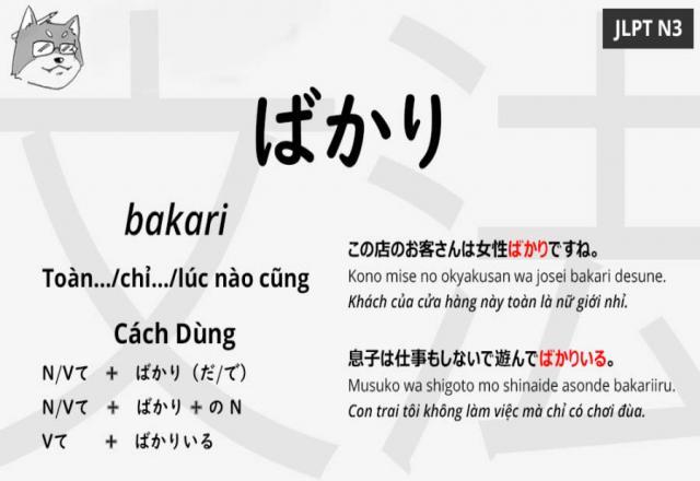 Cách sử dụng ngữ pháp tiếng Nhật ばかり(bakari)