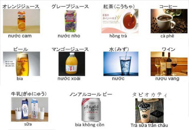 Trà sữa, đồ uống trong tiếng Nhật